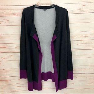 Lilla P Gray & Purple Cardigan Sweater